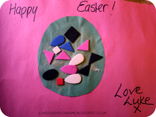 Easter Activities For Toddlers. Foam Shape Easter Egg Card from lukeosaurusandme.co.uk