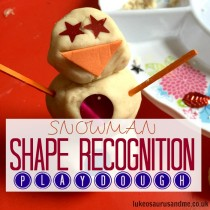Snowman (winter themed) shape recognition activity for toddlers and preschoolers http://lukeosaurusandme.co.uk @gloryiscalling