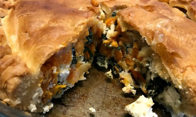 Recipe: Vegetarian Feta Cheese, Sweet Potato and Spinach Pie (+ food budgeting tips!)