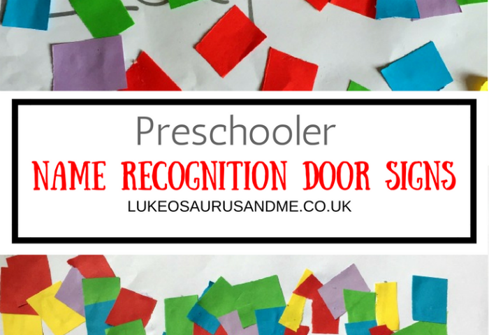 Cutting and Sticking for a Preschooler Name Recognition Door Sign craft at lukeosaurusandme.co.uk