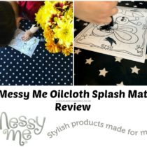 Childrens oilcloth splash mats and messy mats from Messy Me review at https://lukeosaurusandme.co.uk